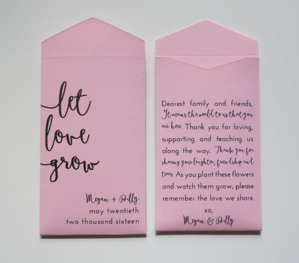 Let Love Grow Personalized Seed Packet Wedding Favors - Light Pink Seed Packet - Seed Envelope Wedding Favor - Blush - Many Colors Available