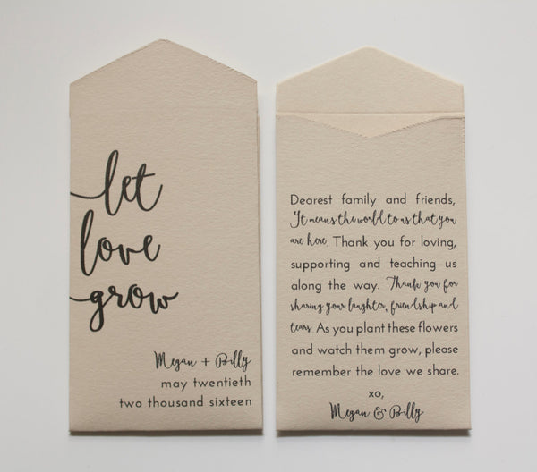 Let Love Grow Personalized Seed Packet Wedding Favors - Wedding Favor Seed Envelope - Custom Seed Packet - Many Colors Available