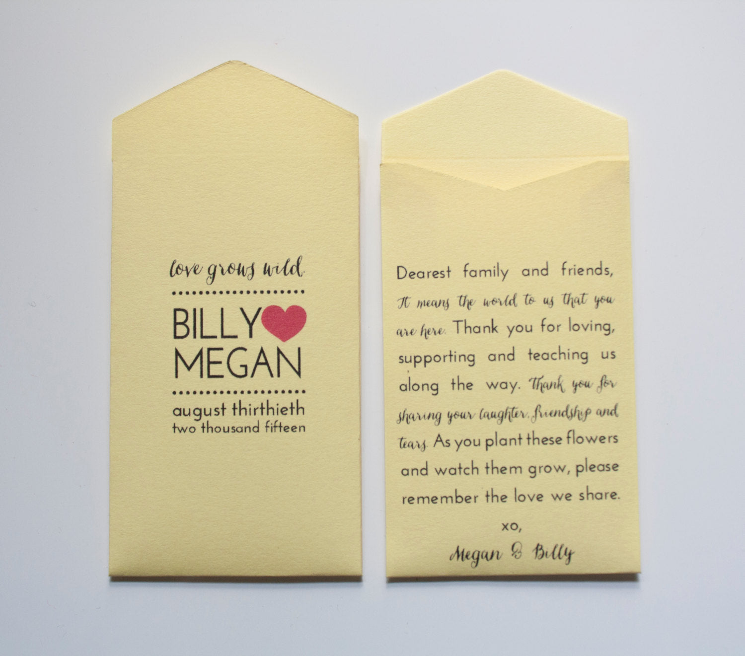 Love Grows Wild Custom Printed Yellow Wedding Favor Seed Packet Envelopes - Personalized Wedding Favors - Many Colors Available