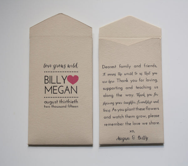 Custom Cream Wedding Favor Seed Packet Envelopes - Many Colors Available