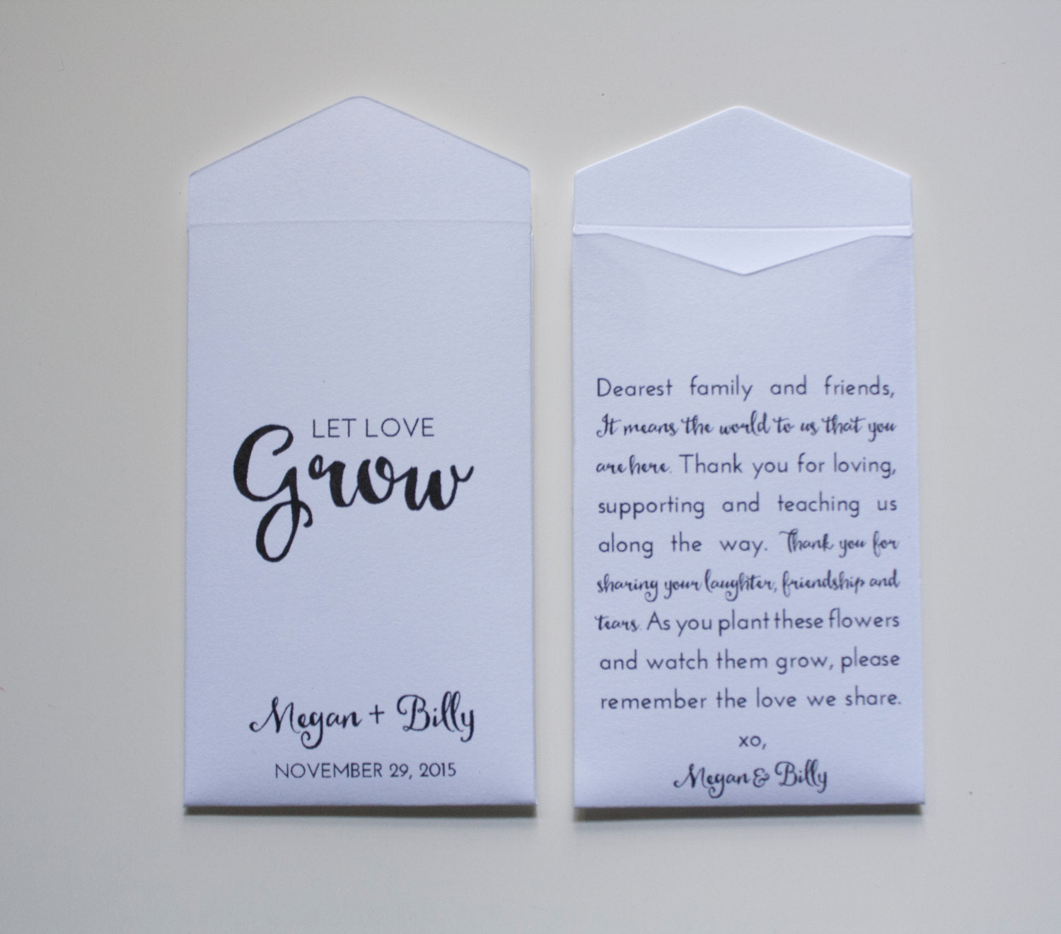 Let Love Grow White Personalized Seed Packet Wedding Favors - Rustic Seed Packet Wedding Favor - Thoughtful Favor - Many Colors Available