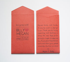 Burnt Orange Custom Seed Packet Envelopes - Many Colors Available