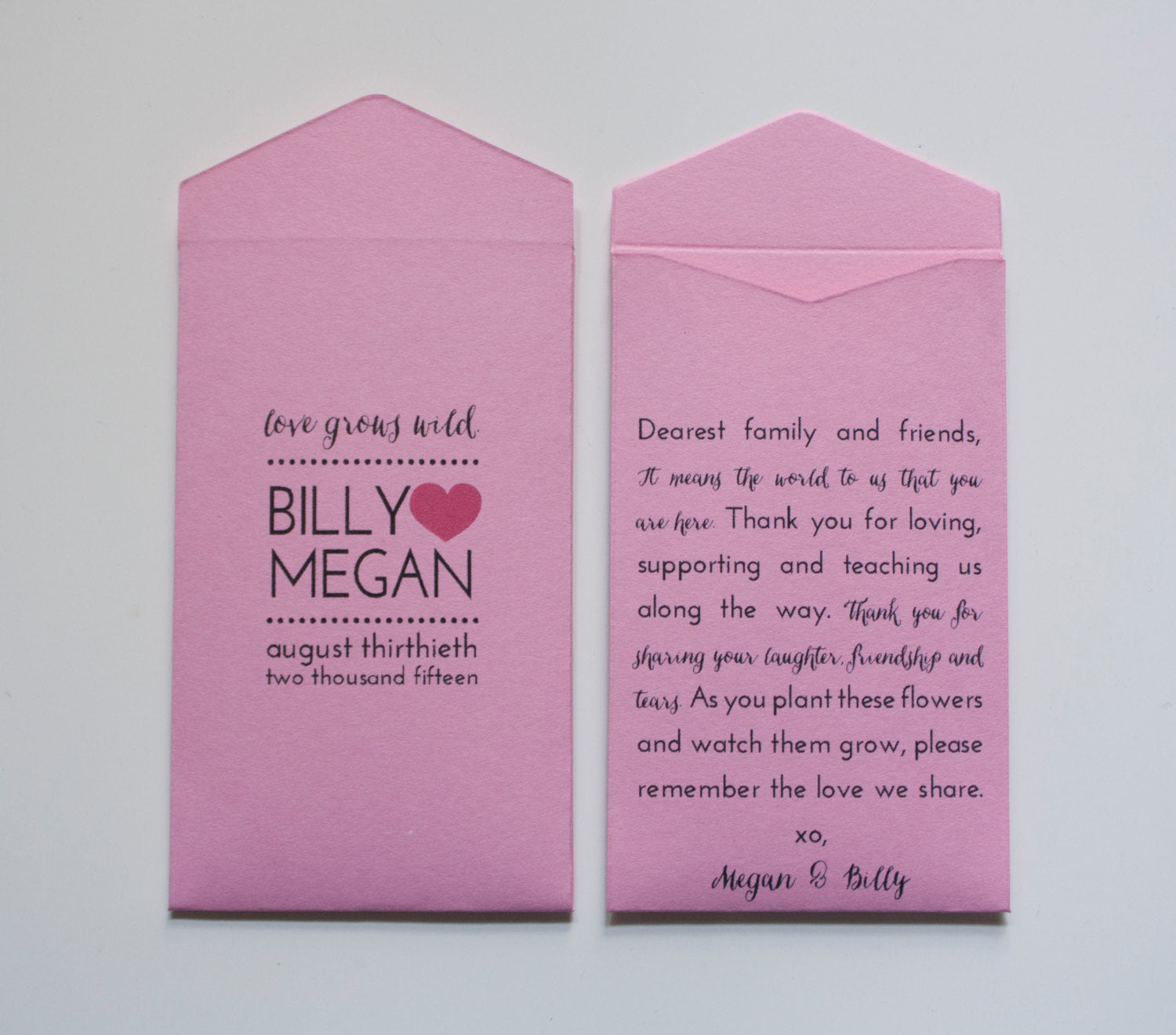 Light Pink Custom Seed Packet Wedding Favors - Many Colors Available