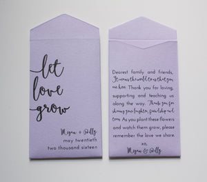 Let Love Grow Personalized Seed Packet Wedding Favors - Custom Seed Packet Envelopes - Purple Wedding Favors - Many Colors Available