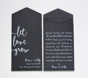 Custom Black and White Seed Packet Wedding Favors - Many Colors Available