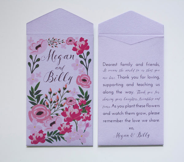 Garden Party Mint Green Seed Packet Wedding Favors - Many Colors Available