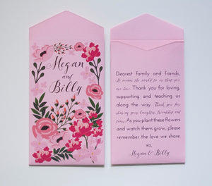 Garden Party Pink Seed Packet Wedding Favors - Many Colors Available