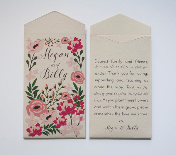 Garden Party Cream Seed Packet Wedding Favors - Many Colors Available