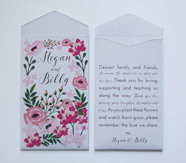 Colorful Garden Party Seed Packet Wedding Favors - Many Colors Available