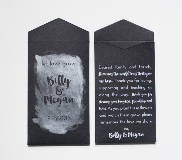 Custom Kraft Chalkboard Seed Packet Wedding Favors - Many Colors Available