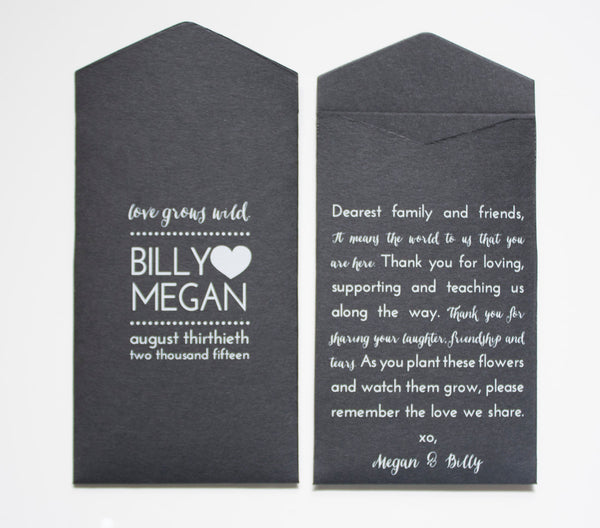 Custom Wildflower Black & White Ink Wedding Favor Seed Packet Envelopes - Small Envelopes - Wedding Shower Favor - Many Colors Available