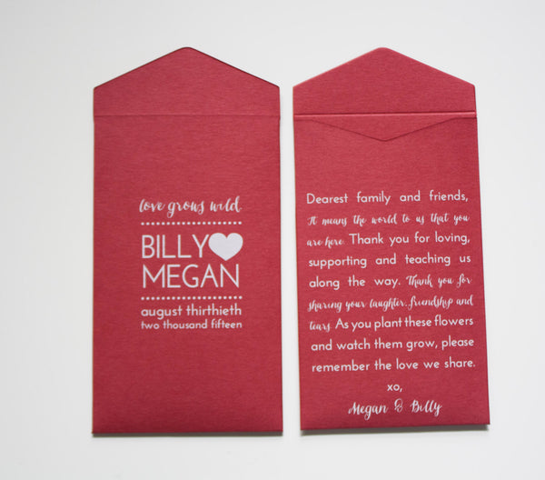Love Grows Wild Red Seed Packet Wedding Favor Envelopes - Custom Seed Packet Wedding Favor - White Ink Printing - Many Colors Available
