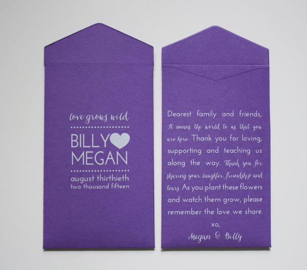 Romantic Custom Wedding Favor Seed Packet Envelopes - Many Colors Available