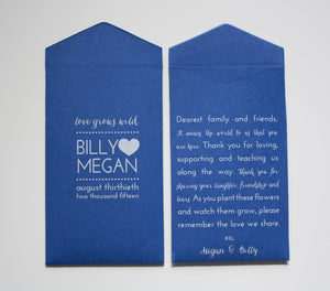 Royal Blue Custom Seed Packet Wedding Favor Envelopes - Many Colors Available