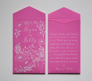 Pink & White Custom Printed Seed Packet Wedding Favors - Floral Design Seed Packets - Personalized Wedding Seed Packet Many Colors Available