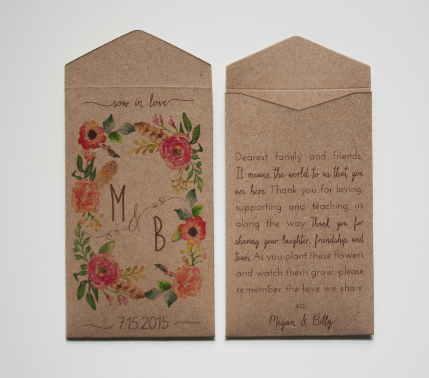 Let Love Grow Custom Rustic Wedding Favor Seed Packet Envelopes - Kraft Seed Packet Wedding Favor - Wedding Shower - Many Colors Available