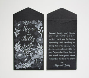Custom Printed Garden Wedding Seed Packet Favors - Black and White Wedding Favor Envelopes - Wildflower Wedding Favor -Many Colors Available