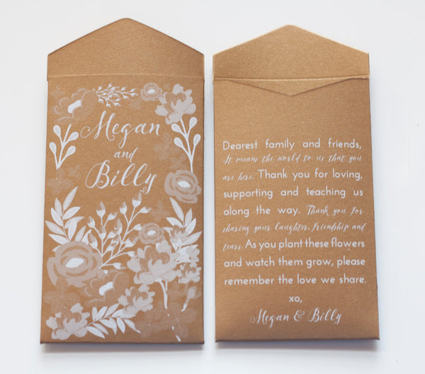 Personalized Shimmer Gold Seed Packet Wedding Favor Envelopes - Custom Garden Party Seed Packet Wedding Favor - Many Colors Available