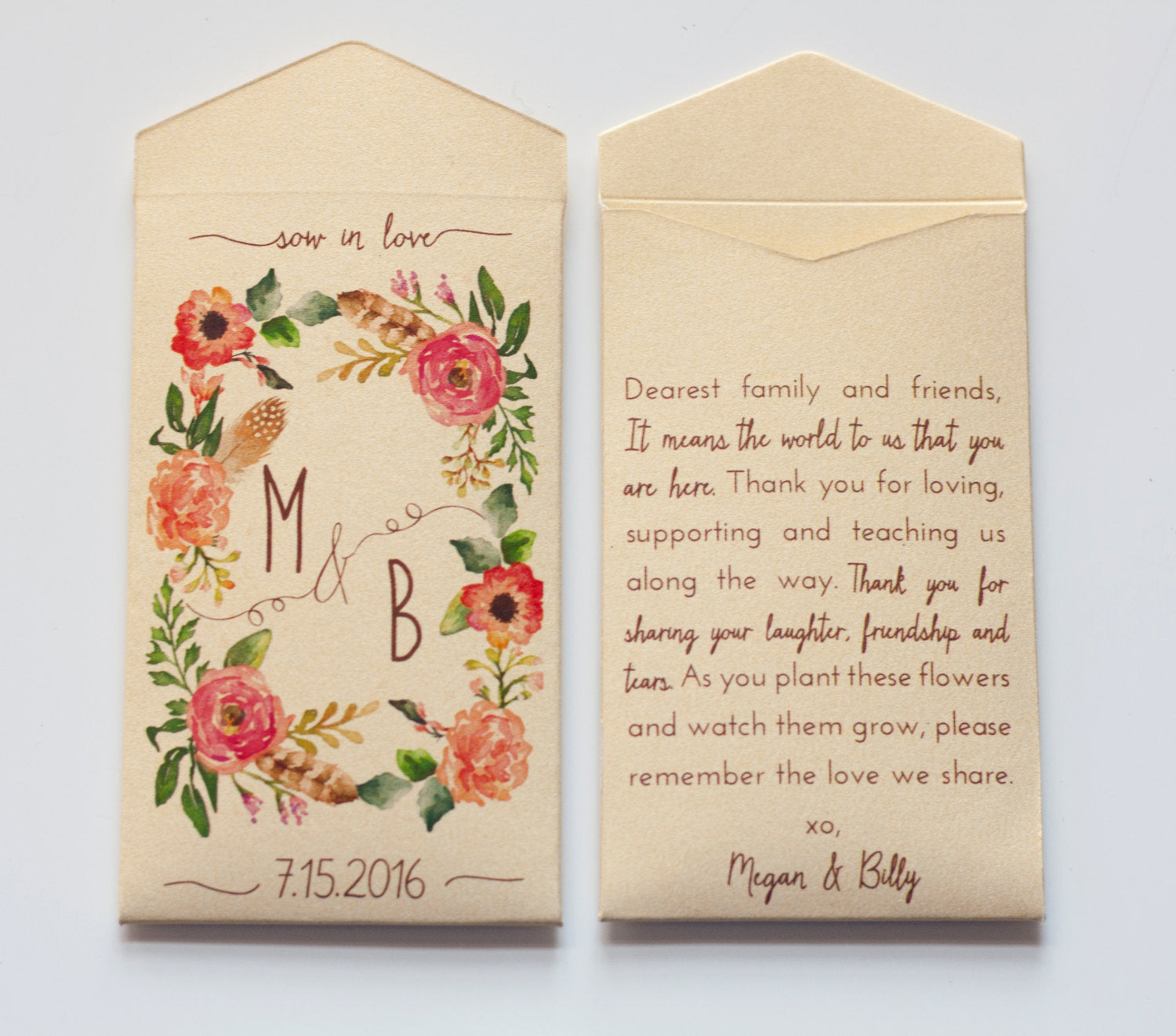 Custom Gold Seed Packet Wedding Favor Envelopes - Shimmer Gold Wedding Favor Envelopes - Rustic Gold Seed Packets - Many Colors Available