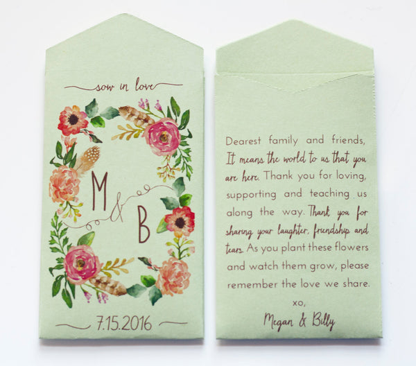 Custom Sage Rustic Wedding Favor Seed Packet Envelopes - Many Colors Available