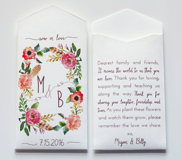Custom Cream Rustic Wedding Favor Seed Packet Envelopes - Many Colors Available