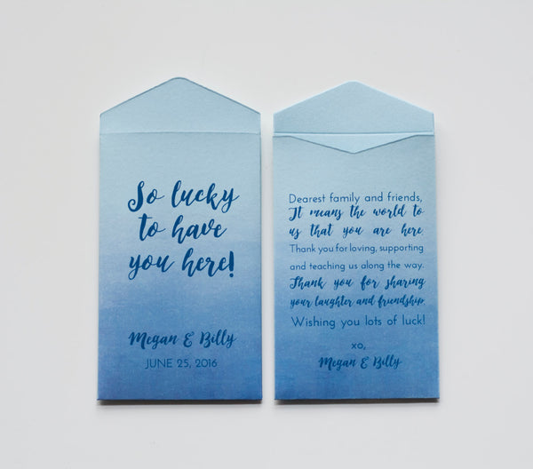Custom Lottery Ticket Wedding Favor Packet Envelopes - Blue Ombre Lottery Ticket Favor - Vegas Wedding Favor - Many Colors Available