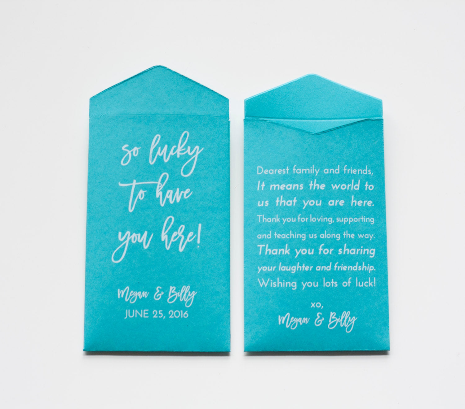 Custom Teal Lottery Ticket Wedding Favor Packet Envelopes - Many Colors Available