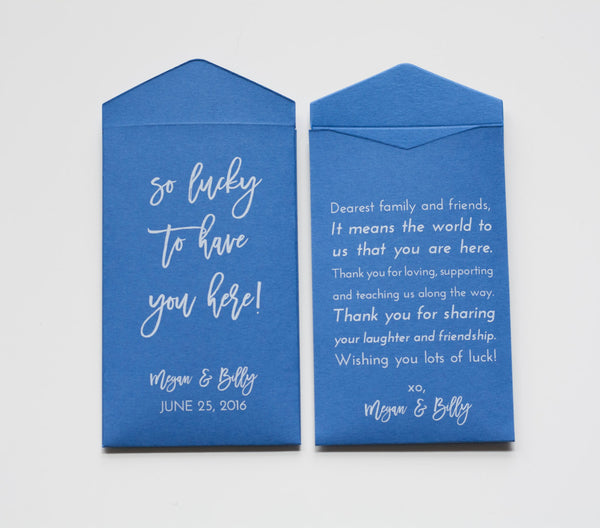 Custom Green Lottery Ticket Wedding Favor Packet Envelopes - Vegas Wedding Favor - Lottery Ticket Envelopes - Many Colors Available