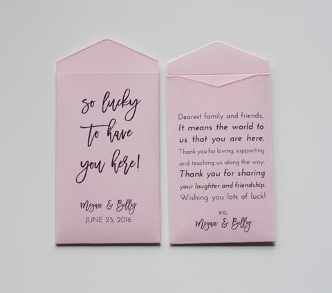 Light Pink Lottery Ticket Wedding Favor Packet Envelopes - Unique Wedding Favor - Vegas Wedding Favor - Many Colors Available