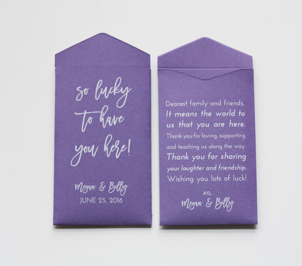 Custom Lavender Lottery Ticket Wedding Favor Packet Envelopes - Many Colors Available