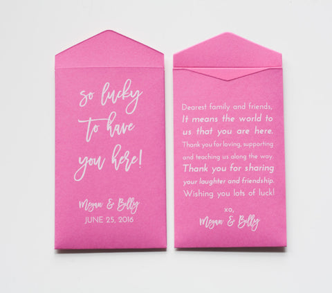 Lottery Ticket Wedding Favor Packet Envelopes - Custom Lottery Ticket Packets - Personalized Vegas Wedding Favor - Many Colors Available