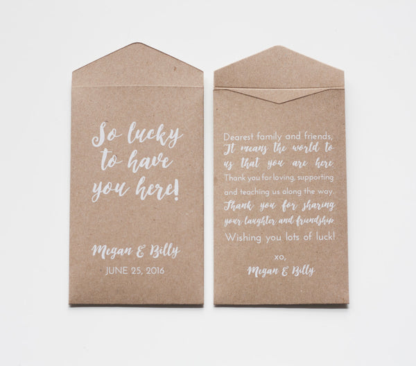 Custom Kraft Lottery Ticket Wedding Favor Packet Envelopes - Many Colors Available
