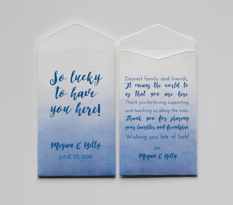 Custom Blue Lottery Ticket Wedding Favor Packet Envelopes - Personalized Lottery Ticket Wedding Favor - Blue Ombre - Many Colors Available