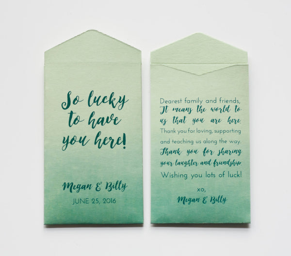 Custom Green Lottery Ticket Wedding Favor Packet Envelopes - Lottery Ticket Favor - Ombre Green Wedding Favor - Many Colors Available