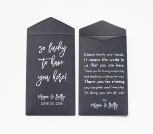Custom Black Lottery Ticket Wedding Favor Packet Envelopes - Many Colors Available