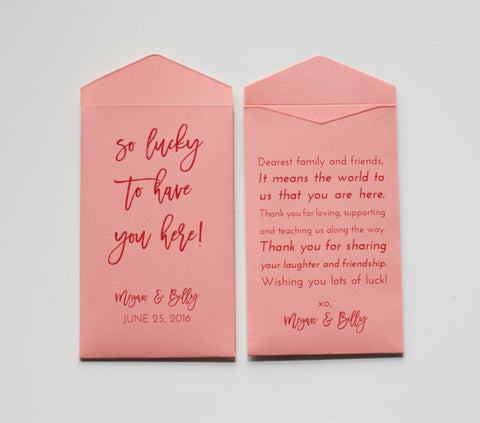 Custom Coral Lottery Ticket Wedding Favor Packet Envelopes - Many Colors Available