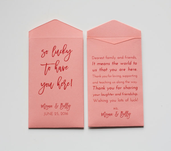 Custom Sage Green Lottery Ticket Wedding Favor Packet Envelopes - Lottery Ticket Packet - Small Envelope Favor - Many Colors Available