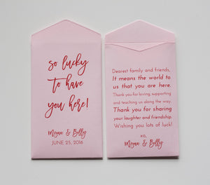 Light Pink Lottery Ticket Wedding Favor Packet Envelopes - Custom Lottery Ticket Wedding Favors - Vegas Wedding - Many Colors Available