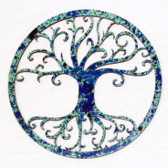 Tree of Life Blue Patina - Wood Home Decor