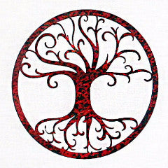 Tree of Life Red Patina - Metal Home Decor