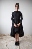 Black Dress with Ruffled Collar and Layered Skirt