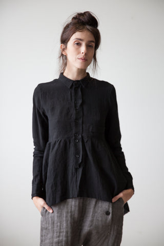Ruffle Waist Shirt in Black