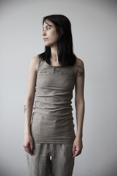 Button Front Tank Top - Travertine