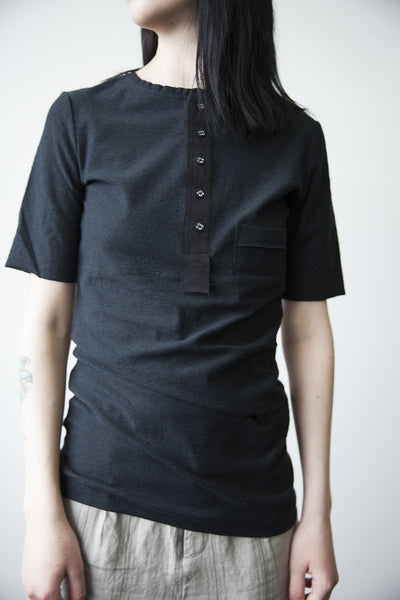 Button Front T-Shirt - Black