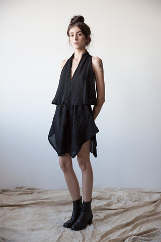 Cotton-Silk Short Handkerchief Dress
