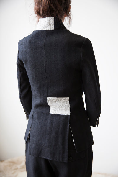 Black Wool Jacket with Broderie Anglaise Patches