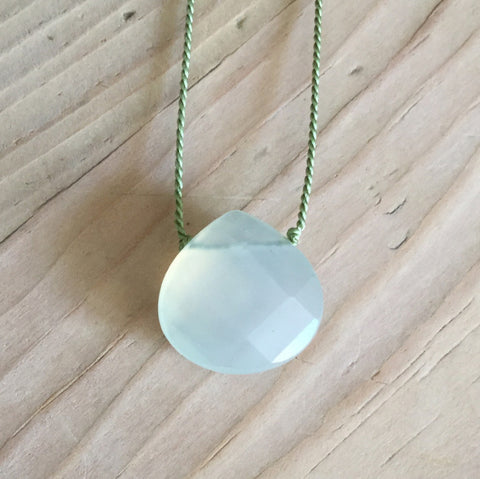 new jade faceted briolette pendant