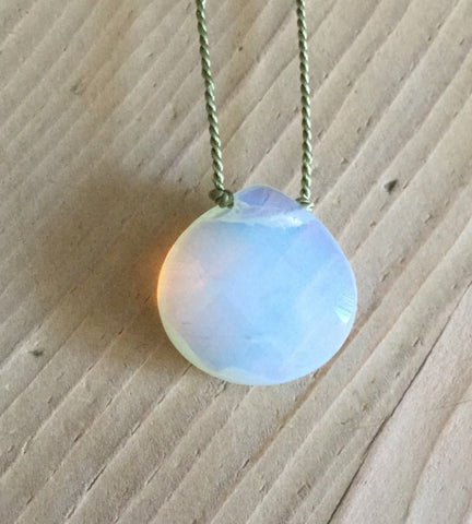 opalite faceted heart briolette pendant