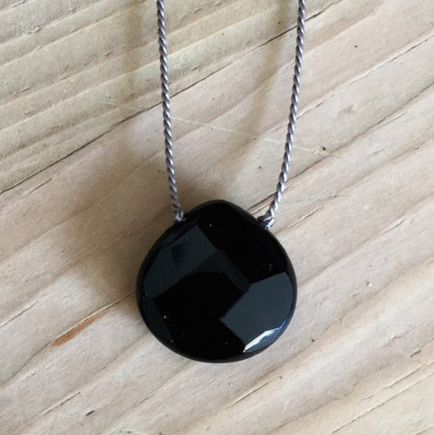 natural black onyx faceted briolette pendant