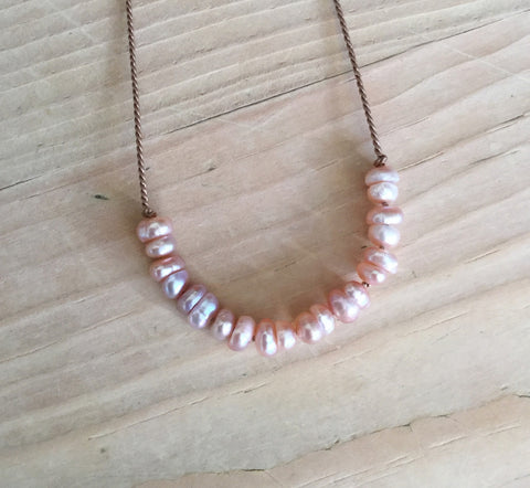 pink freshwater pearl demi luna necklace